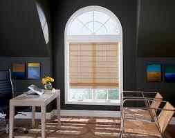 decorating palladian windows with bamboo roman shades and dark