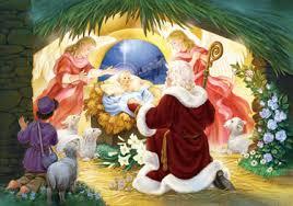 santa kneeling at the manger traditional nativity advent calendars