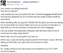 aussie musos call out jetstar u0027s controversial new baggage fee