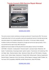 toyota avensis 2004 service repair manual by alexandriawilber issuu