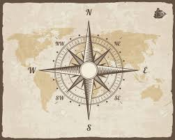 Map Rose Vintage Nautical Compass Old World Map On Paper Texture With