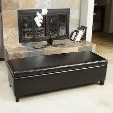 york bonded leather black storage ottoman bench by christopher