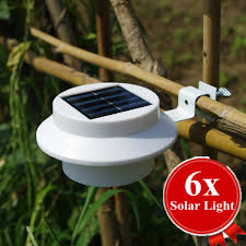 byb 6x solar powered fence gutter light outdoor garden wall
