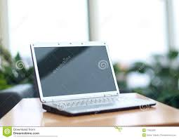 Thin Computer Desk Thin Laptop On Office Desk Stock Photos Image 17842293