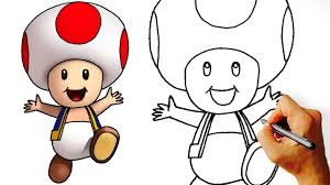 draw cute toad super mario characters step step