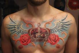 amazing crown and wings with roses chest