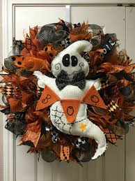 halloween ghost deco mesh wreath by twentycoats wreath creations