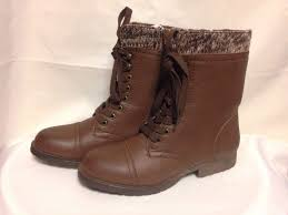 s lace up boots size 9 rage jeliana brown sweater trim lace up combat boots size 9 ebay