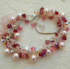 crystal pearl bracelet swarovski images Pink pearl bracelet swarovski ruby and rose crystal sterling jpg