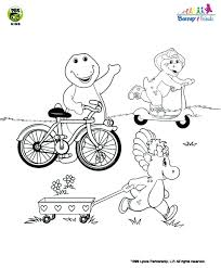 barney friends barney bicycle coloring pbs kids