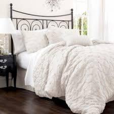 White Ruffled Comforter Feminine Bedding Sets Foter