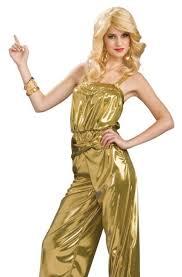Halloween Jumpsuit Costumes Gold Diva 70s Disco Jumpsuit Dance Retro Womens Halloween Costume