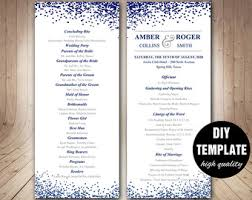 modern wedding programs printable wedding program sided modern thumbprint