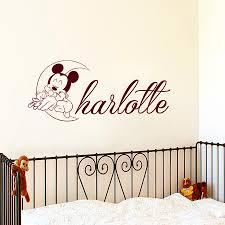 popular baby wall sticker custom name buy cheap mickey mouse sleeping the moon wall stickers custom name nursery baby bedroom vinyl decals