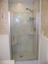 Small Bathroom Ideas With Walk In Shower by Small Bathrooms With White Tub And Brown Toiletris Glass Shelves