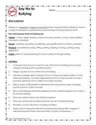 bullying worksheetsworksheets