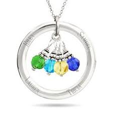 Necklace With Children S Names A Mother Holds Her Child U0027s Heart Floating Birthstone Necklace With