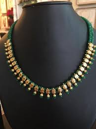beads gold necklace images Emerald beads necklace traditional wear pinterest bead jpg