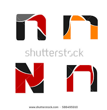 logo letter n element and abstract web icon vector symbol set
