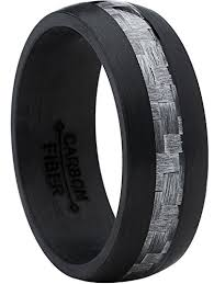 carbon fiber wedding band men s black carbon fiber wedding ring band with gray carbon