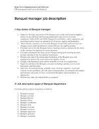 Reading Specialist Job Description Banquet Manager Resume Job Description Banquet Manager Resume Job