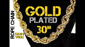 hip necklace chain images Mens 14k gold plated rope chain hip hop necklace 30 quot x 12mm jpg
