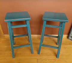 legacy bar stools bar stools distressed wood backless bar stool in turquoise vintage