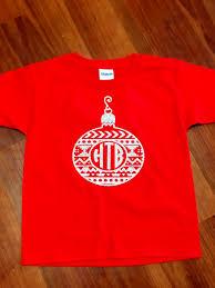 christmas ornament monogram shirt with bow christmas shirt
