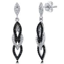 black dangle earrings sterling silver cubic zirconia cz black and white fashion dangle