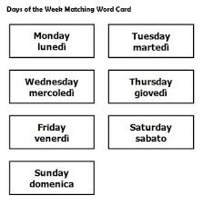 italian days of the week matching word game worksheets and poster
