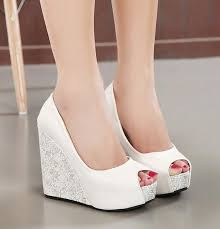 wedding shoes wedges new white wedge heel wedding shoes blue peep toe high heel