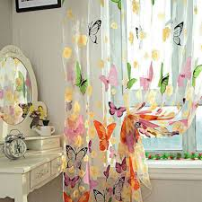 Butterfly Kitchen Curtains by 2pcs 1m 2m Romantic Washable Window Door Curtains Sheer Voile