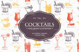 cosmopolitan drink drawing vintage alcoholic drinks collection illustrations creative market