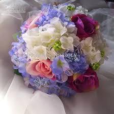 white and blue flowers 28cm pink blue artificial silk wedding bridal hydrangea flower