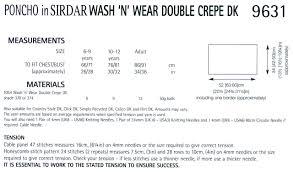 poncho in sirdar wash n wear double crepe dk 9631 pattern