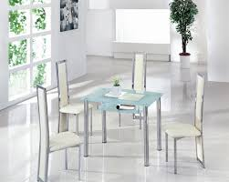Small Glass Dining Room Tables Small Glass Dining Table Clear And 4 Faux Chairs In