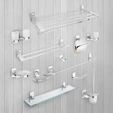 Classic Bathroom Accessories bathroom accessories wall mounted chrome glass shelves toilet