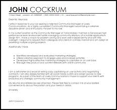community manager cover letter sample livecareer