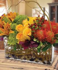 contemporary modern thanksgiving flower ceterpiece by carithers
