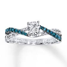 blue and white engagement rings engagement ring 3 4 ct tw blue white 14k white gold