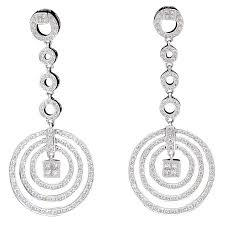 white gold drop earrings diamond dangling circle white gold drop earrings for sale at 1stdibs
