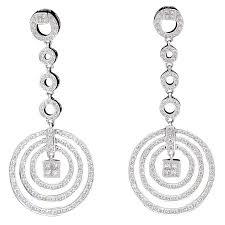 white gold drop earrings diamond dangling circle white gold drop earrings for sale at 1stdibs