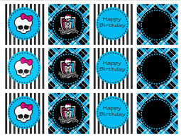 high party supplies printable high blue and black frankie stein cupcake