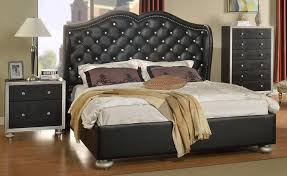 Black Tufted Bed Frame Glam Black Tufted Leather Bed