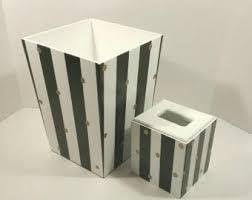 Modern Bathroom Wastebasket Black And White Striped Wastebasket Horizontal Stripes