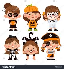 Skeleton Halloween Costume For Kids Set Cartoon Characters Halloween Children Dressed Stock Vector