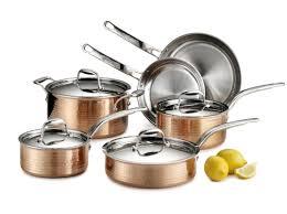 lagostina martellata 10 piece copper cookware set u0026 reviews wayfair