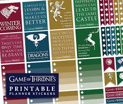 printable game of thrones planner stickers instant download