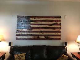 American Flag Tapestry Wall Hanging Hand Crafted Rustic American Flag Wall Art By O U0026e Woodworks