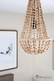 wood bead ceiling light diy chandelier from wood beads designer trapped in a lawyer s body
